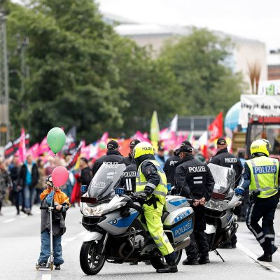 Demonstration i Hamburg inför G20 möte