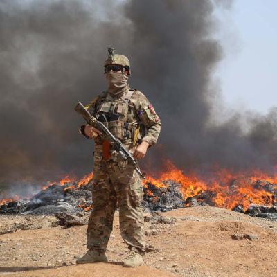 En soldat från Afghanistans regeringsstyrkor står vid ett markområde där det brinner.