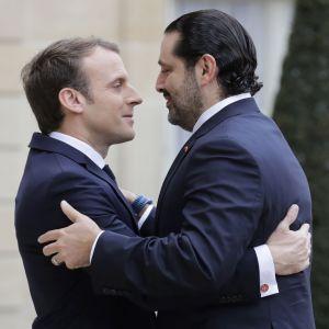 Frankrikes president Emmanuel Macron tog emot Saad Hariri i Elysé-palatset i Paris.