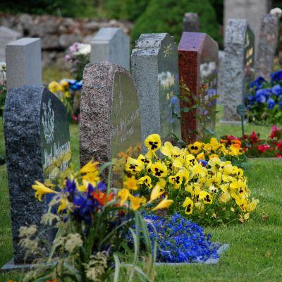 Gravstenar på en begravningsplats med blommor vid gravarna.