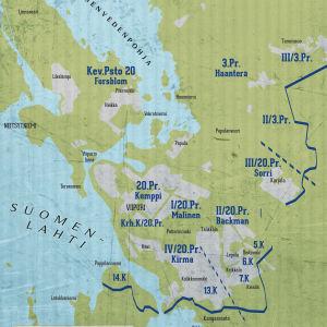 20. Prikaatin ryhmitys Viipurissa 20.6.1944