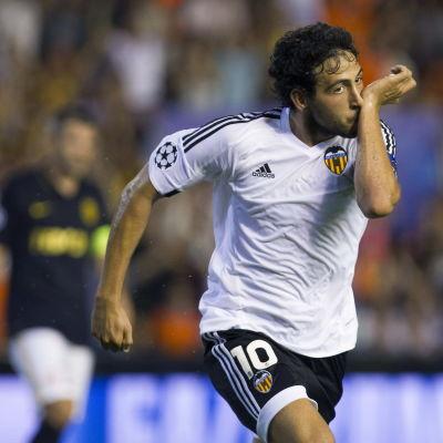 Valencias Danny Parejo gjorde segermålet mot Monaco i Champions Leaguekvalet.