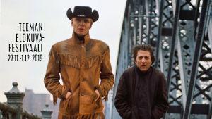 Rattopoika ja pummi kadulla eli päähenkilöt elokuvasta Keskiyön cowboy. Kuvassa Teeman elokuvafestivaalin logo.