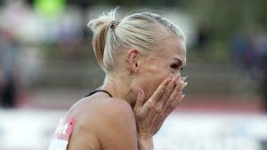 Annimari Korte efter sitt rekordlopp i Joensuu.