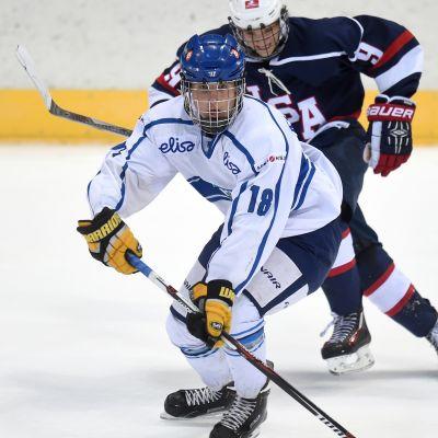 Janne Kuokkanen i juniorlandslagströjan.