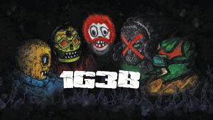 Rockgruppen 1G3B iklädda brottningsmasker.