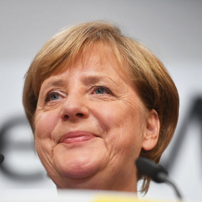 Tysklands förbundskansler Angela Merkel i Berlin den 24 september 2017.