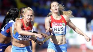 Ksenia Zadorina och Tatjana Firova, 4x400 meter, EM 2014.