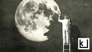 mies maalaa kuuta