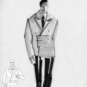 Mustavalkoinen muotipiirrustus miehelle suunnitellusta lyhyestä pusakakasta jossa tasku edessä.
