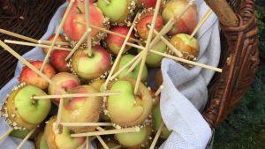 Äpplen på pinne till salu på marknaden.