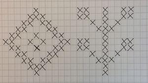 Ritade kryss på rutigt papper som bildar två olika stickmönster