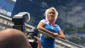 Sandra Eriksson poserar inför OS 2016.