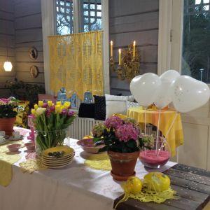 Fetsbord i rosa och gult