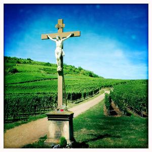 Krusifiksi ranskalaisella viinitilalla