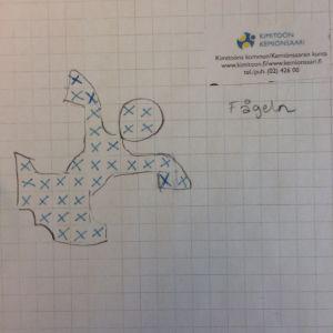 Mönsterstickningsdiagram föreställande en fågel från kimito
