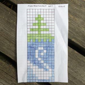 Mönsterdiagram för stickning föreställande gran och svan.
