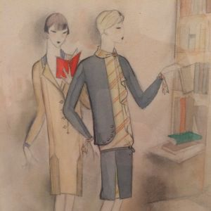 Jeanne Mammen. Zwei Frauen am Bücherregal (Två kvinnor vid bokhyllan), ca 1927