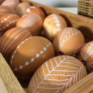 Bruna ägg med olika dekorationer i vitt