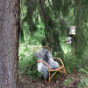 En fåtölj under en gran med två lampor av björknäver hängandes bredvid.