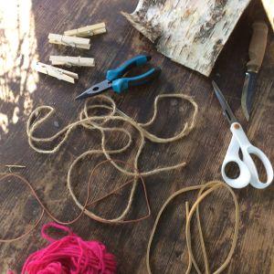 Redskap och material till lampskärmen