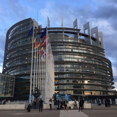 En av EU-parlamentets byggnader i Strasbourg i Frankrike.