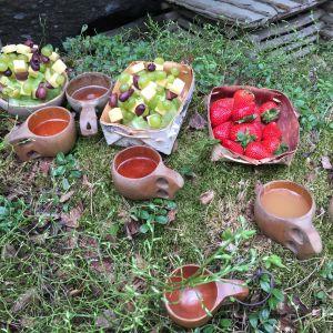 Tuhkimotarinoiden Nanna, loppuhuipennus metsässä, ruokakuva