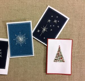 Fyra olika handsydda julkort