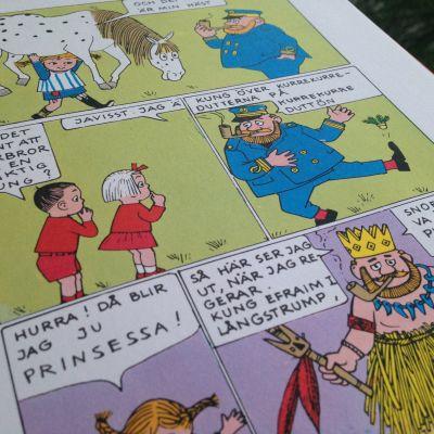 En sida ur bilderboken Pippi håller kalas där Pippis pappa presenterar sig som kung