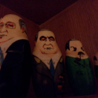Fyra ryska sovjetledare i dockform.