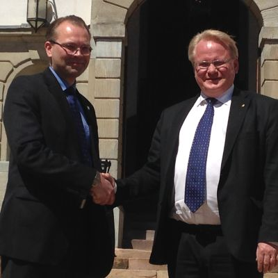 Försvarsministrarna Jussi Niinistö och Peter Hultqvist i Stockholm.