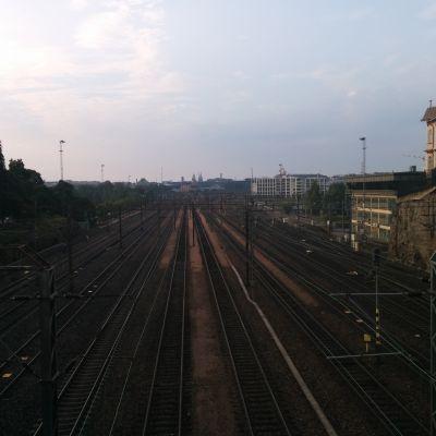 Tomma tågspår i Helsingfors.