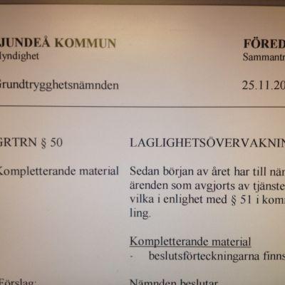 Grundtrygghetsnämndens föredragningslista i Sjundeå.