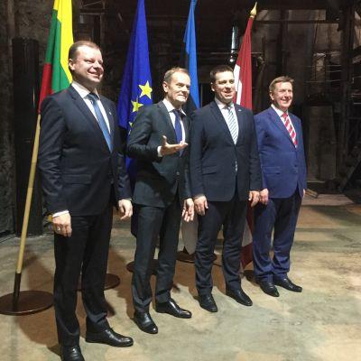 Litauens premiärminister Saulius Skvernelis, Europeiska rådets ordförande Donald Tusk, Estlands premiärminister Jüri Ratas och Lettlands premiärminister Māris Kučinskis.
