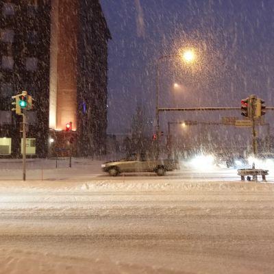 Snöyra i Åbotrafiken.