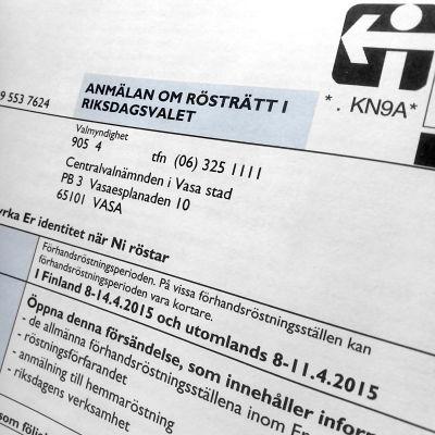 Anmälan om rösträtt i riksdagsvalet 2015.