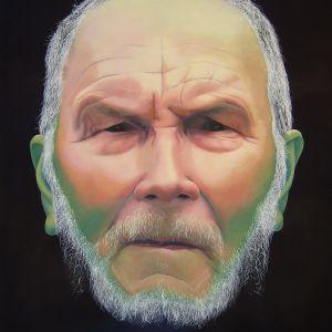 Satu Kiljusen öljymaalaus Vanha mies nuuska huulessa (2016).