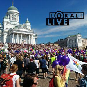 Helsingfors pride 2016 med Lokalt live-loggan.