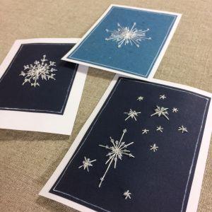 Käsinommeltut joulukortit