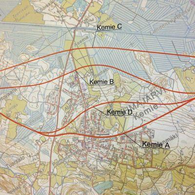 Valtatie 9:n linjausvaihtoehdot Kemien kohdalla kartassa.