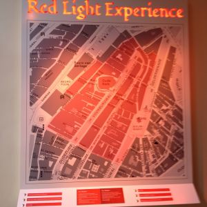 En karta över Red light district i Amsterdam