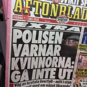 Aftonbladets rubrik den 8.3.2016