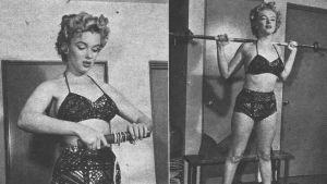 Marilyn Monroe styrketränar 1957.