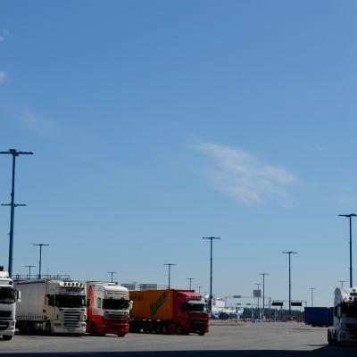 Utländska chaufförer hade hunnit ta sig ända till hamnen innan de fick beskedet om strejken.