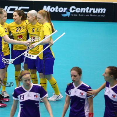 Ruotsi nöyryytti Ranskaa ennätyslukemin 61–0 naisten salibandyn MM-karsinnoissa Puolassa.