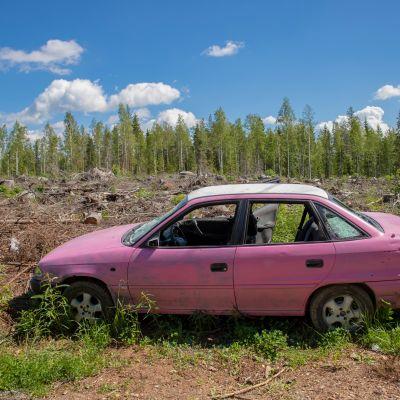 Pinkki romuauto hakkuuaukealla