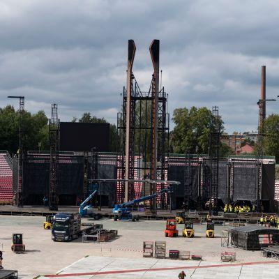Rammstein lavarakennelma Tampereen Ratinan stadionilla