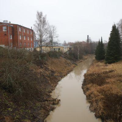Turun Vähäjoki kiemurtelee syysmaisemassa asutuksen keskellä.