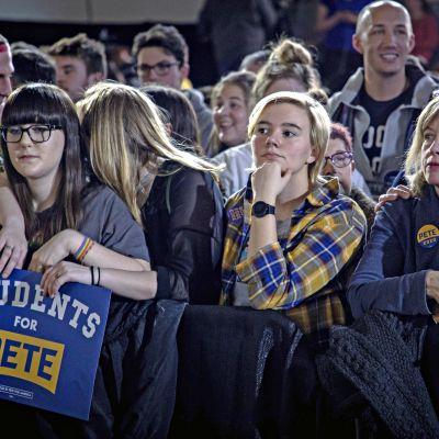 Pete Buttigiegin kannattajia Iowassa maanantaina 3. helmikuuta.