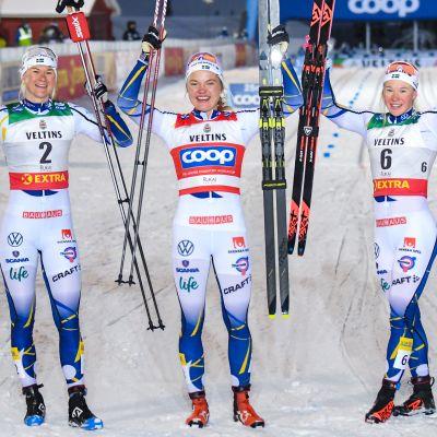 Rukan maailmancupin sprinttipäivä oli Ruotsin naisten täydellinen näytös. Kuvassa voittaja Linn Svahn (kesk.), toiseksi sijoittunut Maja Dahlqvist ja päivän kolmonen Jonna Sundling. Suomalaiset jäivät nuolemaan näppejään.